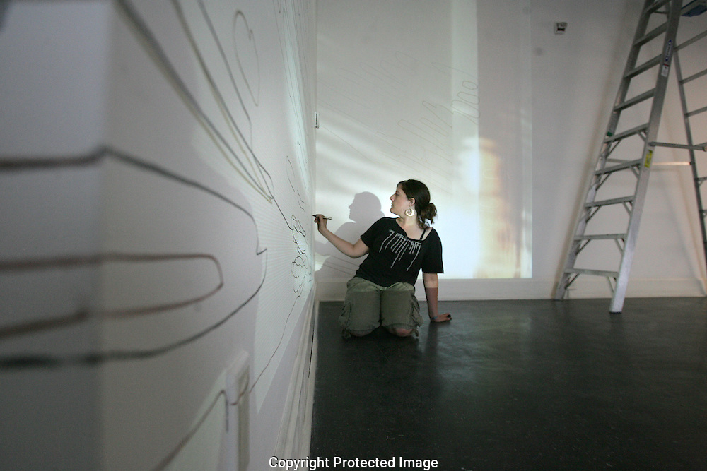 Cara Romano drew from a 20 minute looped video that she projected onto the gallery walls at ROY G BIV Gallery 997 N High Street in the Short North. The drawing was part of a performance art piece at the gallery.