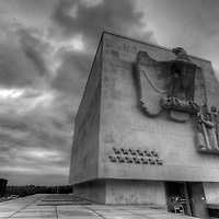 The impressive memorial chapel at the Ardennes American Military Cemetery in Neupre, Belgium (near Liege) Black & White version