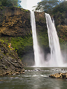 View of Wailua Falls, near Lihue, Kauai, Hawaii, USA