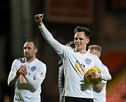 30th November 2018, Tannadice Park, Dundee, Scotland; Scottish Championship football, Dundee United versus Ayr United; Lawrence Shankland of Ayr United with the match at full time ball after scoring a hat trick