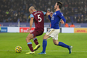 Pablo Zabaleta (5) gets the better of Ben Chilwell (3) during the Premier League match between Leicester City and West Ham United at the King Power Stadium, Leicester, England on 22 January 2020.