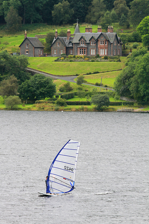 Windsurfing competition on St Marys Loch in the Scottish Borders