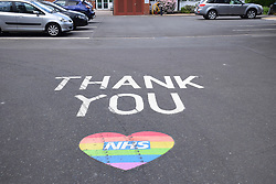 Thank you & NHS rainbow heart at entrance to Colman Hospital during Coronavirus lockdown, Norwich UK May 2020
