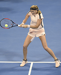 DOHA, Feb. 18, 2018  Petra Kvitova of the Czech Republic hits a return during the single's semifinal match against Caroline Wozniaki of Denmark at the 2018 WTA Qatar Open in Doha, Qatar, on Feb. 17, 2018. Petra Kvitova won 2-1. (Credit Image: © Nikku/Xinhua via ZUMA Wire)