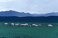 Mongolia. yurt in the outskirts of Oulan Bator    Oulan bator       / Yourtes dans la steppe , la sortie de Oulan Bator