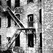 fire escape in black and white