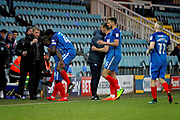 Peterborough United striker Junior Morias (16) celebrates his goal with Peterborough United manager Grant McCann  during the EFL Sky Bet League 1 match between Peterborough United and Oldham Athletic at London Road, Peterborough, England on 20 January 2018. Photo by Nigel Cole.