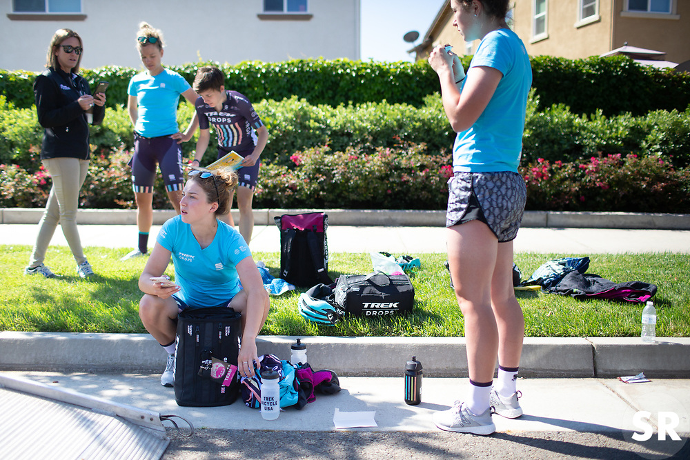 Manon Lloyd (GBR) of Trek-Drops Cycling Team prepares for Stage 1 of the Amgen Tour of California - a 124 km road race, starting and finishing in Elk Grove on May 17, 2018, in California, United States. (Photo by Balint Hamvas/Velofocus.com)