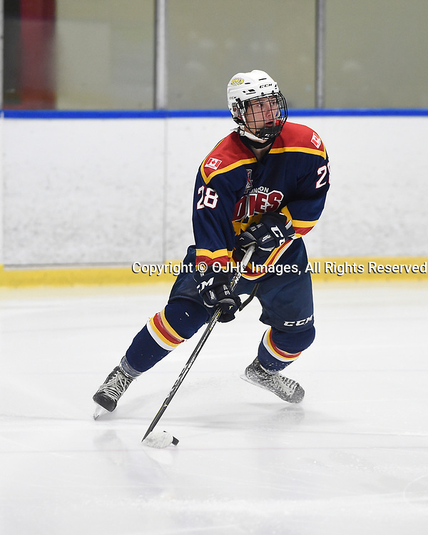 WHITBY, ON - SEP 24,  2017: Ontario Junior Hockey League Governors Showcase game between the Whitby Fury and Wellington Dukes, Alec Tiley #28 of the Wellington Dukes shoots the puck during the first period.<br /> (Photo by Andy Corneau / OJHL Images)
