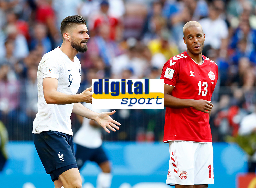 Olivier Giroud (France) and Mathias Jorgensen (Denmark) <br /> Moscow 26-06-2018 Football FIFA World Cup Russia  2018 <br /> Denmark - France / Danimarca - Francia<br /> Foto Matteo Ciambelli/Insidefoto
