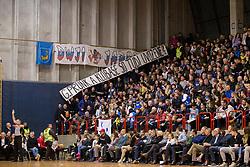 Supporters of KK Plama - Pur Ilirska Bistrca during basketball match between KK Mesarija Prunk Sezana and KK Plama - Pur in 2nd Slovenian Basketball League, on January 20, 2018 in Sports hall OS Sezanal,Sezana, Slovenia. Photo by Urban Urbanc / Sportida