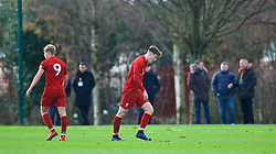 KIRKBY, ENGLAND - Saturday, January 26, 2019: Liverpool's Morgan Boyes looks dejected as he is sent off during the FA Premier League match between Liverpool FC and Manchester United FC at The Academy. (Pic by David Rawcliffe/Propaganda)