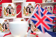 Kate and William mugs and tea cups are seen on display in London days before their wedding, April 26, 2011.  The Royal Wedding of Prince William and Kate Middleton will take place on April 29th, 2011.  UPI/Kevin Dietsch