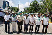10 SEPTEMBER 2003 - CANCUN, QUINTANA ROO, MEXICO: Mexican farmers and farm workers opposed to the World Trade Organization and globalization march through the city of Cancun, Quintana Roo, Mexico during a protest against the WTO. Tens of thousands of people opposed to the WTO have come to this Mexican resort city to protest the 5th Ministerial meeting of the World Trade Organization. The WTO meetings are taking place in the hotel zone of Cancun, about 10 miles from the protestors.  PHOTO BY JACK KURTZ