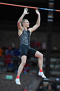 Sam Kendricks (USA) wins the pole vault at 18-9¼ (5.72m) during the Bauhaus-Galan in a IAAF Diamond League meet at Stockholm Stadium in Stockholm, Sweden on Thursday, May 30, 2019. (Jiro Mochizuki/Image of Sport)