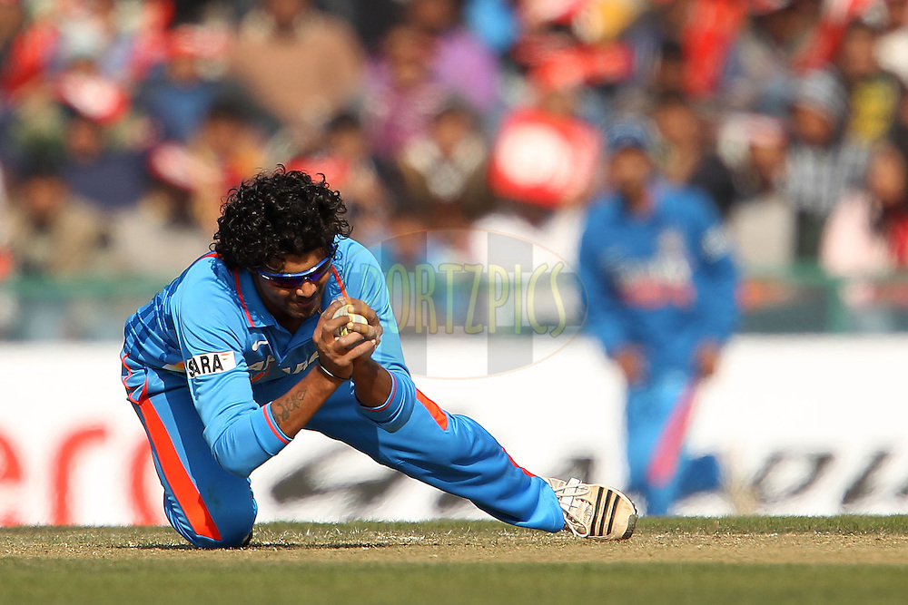 Ravindra Jadeja of India takes the catch from his own bowling to dismiss Samit Patel of England during the 4th Airtel ODI Match between India and England held at the PCA Stadium, Mohal, India on the 23rd January 2013..Photo by Ron Gaunt/BCCI/SPORTZPICS ..Use of this image is subject to the terms and conditions as outlined by the BCCI. These terms can be found by following this link:..http://www.sportzpics.co.za/image/I0000SoRagM2cIEc