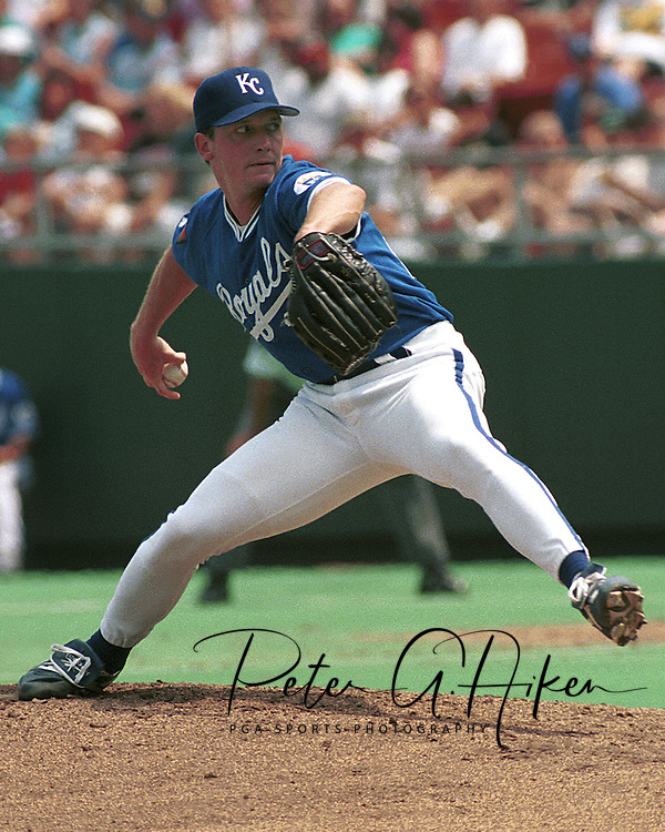 Kansas City Royal David Cone during game action against the Oakland A's at Kauffman Stadium in Kansas City, Missouri in 1993.