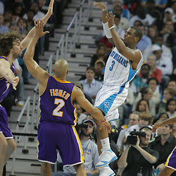 23 December 2008: New Orleans Hornets guard Chris Paul (3) throws past Lakers defender Derek Fisher (2) during a 100-87 loss by the New Orleans Hornets to the Los Angeles Lakers at the New Orleans Arena in New Orleans, LA. .