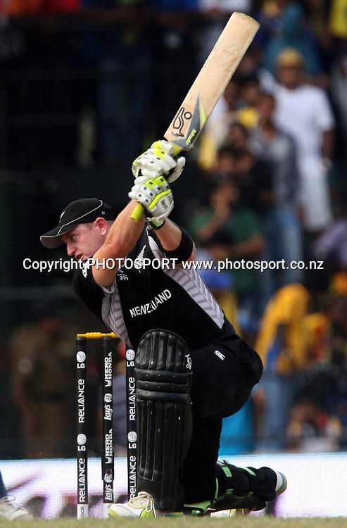 New Zealand batsman Scott Styris plays a shot against Sri Lanka during ICC Cricket World Cup - 1st Semi-Final New Zealand vs Sri Lanka Played at R Premadasa Stadium, Colombo, 29 March 2011 - day/night (50-over match)