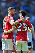 Nottingham Forest forward Apostolos Vellios (39) with Nottingham Forest forward Joe Lolley (23) during the EFL Sky Bet Championship match between Bolton Wanderers and Nottingham Forest at the Macron Stadium, Bolton, England on 6 May 2018. Picture by Jon Hobley.