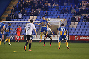 19 Sam Jones for Shrewsbury Town and  27 Steven Taylor for Peterborough United during the EFL Sky Bet League 1 match between Shrewsbury Town and Peterborough United at Greenhous Meadow, Shrewsbury, England on 24 April 2018. Picture by Graham Holt.