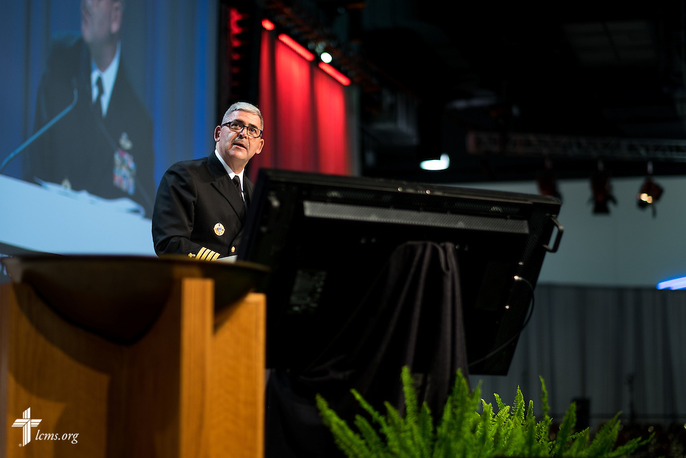 Capt. Gregory N. Todd, a chaplain for the U.S. Coast Guard, presents a resolution for Floor Committee 2 on International Witness on Tuesday, July 12, 2016, at the 66th Regular Convention of The Lutheran Church–Missouri Synod, in Milwaukee. LCMS/Michael Schuermann