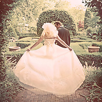 Viewed from the back a newlywed couple walking away under a gazebo into a garden