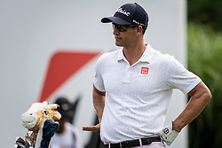 August 2, 2018 - Akron, OH, U.S. - AKRON, OH - AUGUST 02:  Adam Scott (AUS) waits to play his shot from the 16th tee during the first round of the WGC-Bridgestone Invitational on August 2, 2018 at the Firestone Country Club South Course in Akron, Ohio. (Photo by Shelley Lipton/Icon Sportswire) (Credit Image: © Shelley Lipton/Icon SMI via ZUMA Press)