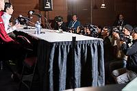 KELOWNA, BC - OCTOBER 26: Mens long program gold medalist, Japanese skater Yuzuru Hanyu speaks to media during a press conference at Prospera Place on October 26, 2019 in Kelowna, Canada. (Photo by Marissa Baecker/Shoot the Breeze)