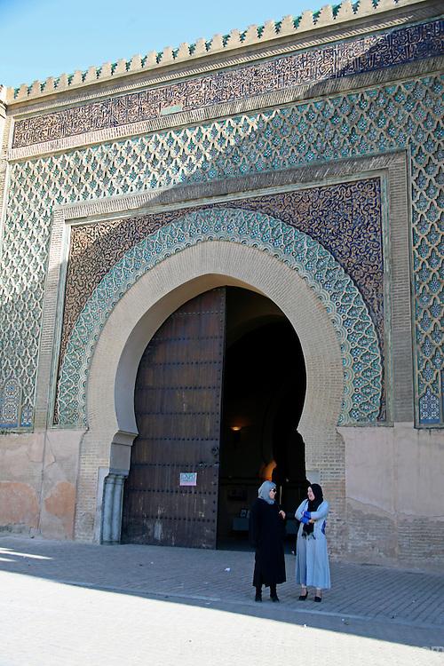 Africa, Morocco, Meknes. Bab el-Mansour gate.