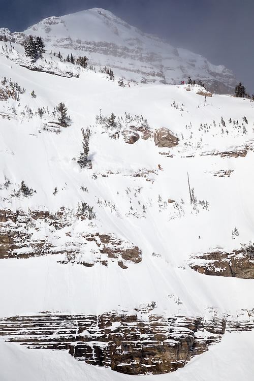 Angel Collinson skis the legendary backcountry line Break Neck near JHMR.
