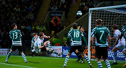 BOLTON, ENGLAND - Thursday, March 6, 2008: Bolton Wanderers' Heidar Helguson hits the Sporting Clube de Portugal crossbar during the UEFA Cup Round of 16 1st Leg match at the Reebok Stadium. (Pic by David Rawcliffe/Propaganda)