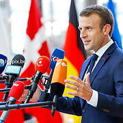 European Summit meeting of the EU heads of states and governments at the European Council headquarters . arrival at the European Council.<br /> Pix : Emmanuel Macron