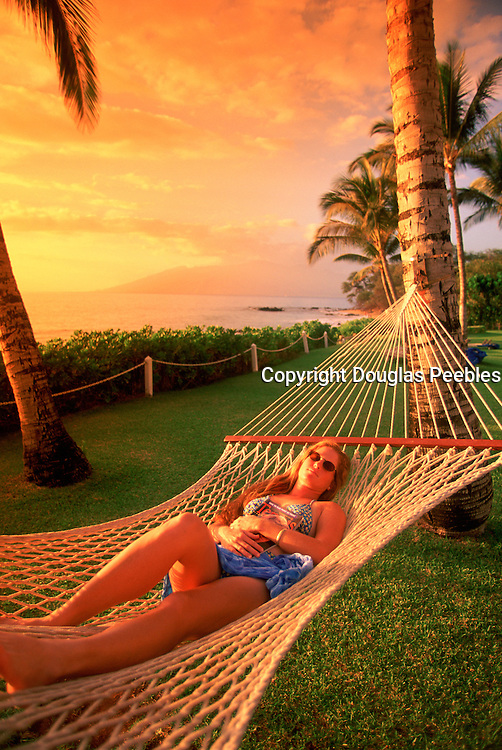 Hammock, Sunset, Wailea, Maui Hawaii, USA<br />