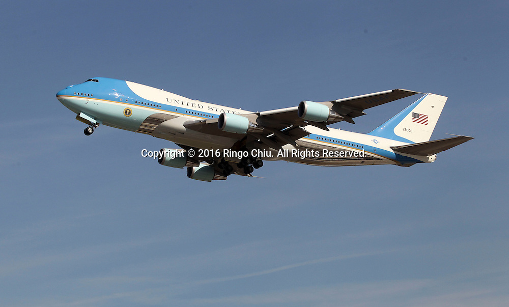 Air Force One with President Barack Obama departs at Los Angeles International Airport in Los Angeles, Friday, Feb 12, 2016.(Photo by Ringo Chiu/PHOTOFORMULA.com)<br /> <br /> Usage Notes: This content is intended for editorial use only. For other uses, additional clearances may be required.