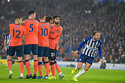 Glenn Murray (Brighton) races to the goal to see if the ball goes in during the Premier League match between Brighton and Hove Albion and Everton at the American Express Community Stadium, Brighton and Hove, England on 26 October 2019.