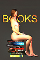 We see a naked woman sitting calmly on a stack of books. These books cover a myriad of subjects, but we can see that many of them are about buildings. You could go so far as to say that these books deal in the subject of growth, and perhaps the subject of expansion, as well. As you think about the books in this fine art piece, regard the look on the face of the naked woman. We can't say for certain what she is thinking. There is no cruelty in her eyes, and yet there is something about the way she looks at us that takes us to a strange, fascinating place within our own minds.