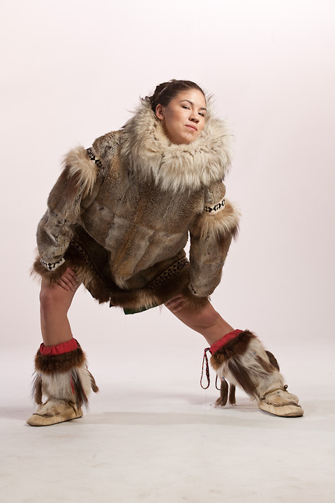 ANHC athlete, Elizabeth Rexford, in traditional Iñupiat wolf parka and mukluks.