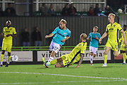 Forest Green Rovers Isaac Pearce(17) shoots at goal during the EFL Trophy match between Forest Green Rovers and Cheltenham Town at the New Lawn, Forest Green, United Kingdom on 4 September 2018.