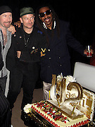 "**EXCLUSIVE**.U2 band members The Edge, Bono with Artist Jeffery Dread celebrating the Premiere of their documentary "" Rotten Tomatoes: The Vine""..Bono concert After Party.Baoli Restaurant - 2007 Cannes Film Festival .Cannes, France .Saturday, May 19, 2007.Photo By Celebrityvibe; .To license this image please call (212) 410 5354 ; or.Email: celebrityvibe@gmail.com ;"