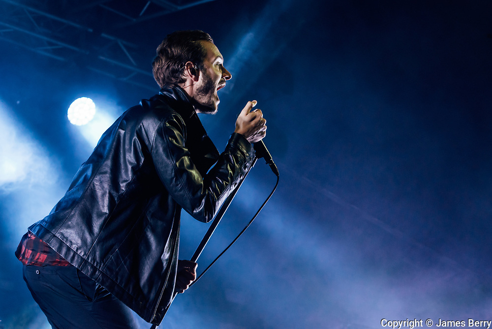 Editors perform live at the Beyond the Tracks festival in Birmingham, England, on Sunday 17 September 2017. Picture shows Tom Smith.