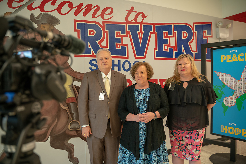 HISD Chief of Human Resources Julia Dimmitt and Area Superintendent James McSwain surprised Revere Middle School Athletic Director Celina Robinson as the Sterling McCall VIP Services Teacher of the Month for April 2019