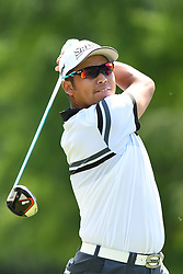May 3, 2019 - Charlotte, NC, U.S. - CHARLOTTE, NC - MAY 03: Hideki Matsuyama plays his shot from the ninth tee during round two of the Wells Fargo Championship on May 03, 2019 at Quail Hollow Club in Charlotte,NC. (Photo by Dannie Walls/Icon Sportswire) (Credit Image: © Dannie Walls/Icon SMI via ZUMA Press)
