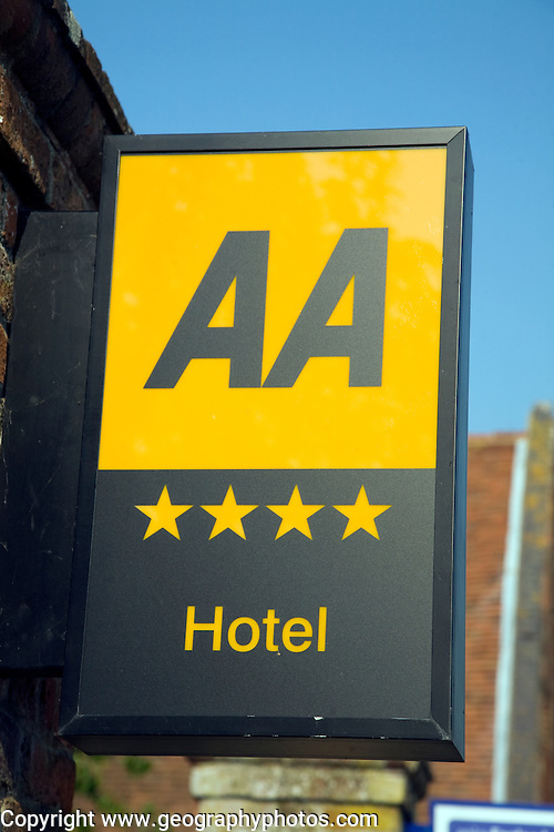 AA four star hotel rating sign