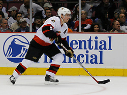 Apr 3, 2007; East Rutherford, NJ, USA; Ottawa Senators defenseman Wade Redden (6) during the first period at Continental Airlines Arena in East Rutherford, NJ.