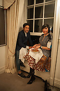 Osman Yousefzada; Alice Rawthorn; , Valeria Napoleone hosts a dinner at her apartment e to celebrate the publication of her book  Valeria Napoleone's Catalogue of Exquisite Recipes. Palace Green. Kensington. London. 28 September 2012.