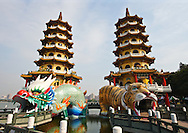 I really couldn't find much information on the Dragon Tiger Towers.  Basically, they seem a little Disneylandish, but are still quite beautiful and worth a visit if you're in Kaohsiung,