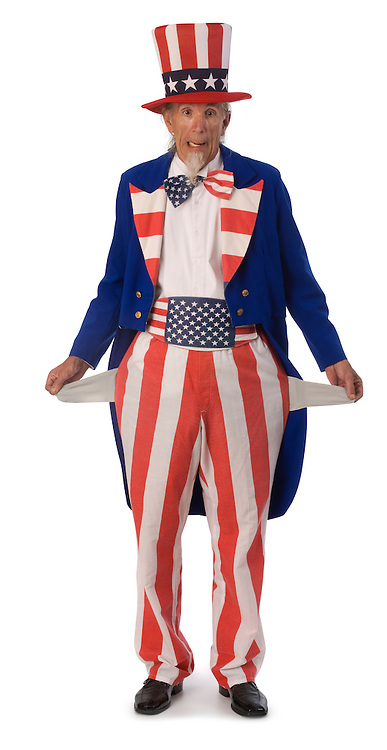 Uncle Sam on a white background with his pockets turned inside out