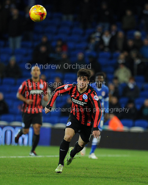 Joao Teixeira of Brighton in action. Skybet football league championship match, Cardiff city v Brighton &amp; Hove Albion at the Cardiff city Stadium in Cardiff, South Wales on Tuesday 10th Feb 2015.<br /> pic by Andrew Orchard, Andrew Orchard sports photography.