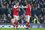 GOAL 1-1 Arsenal forward Gabriel Martinelli (35) scores and celebrates with Arsenal forward Alexandre Lacazette (9) during the Premier League match between Chelsea and Arsenal at Stamford Bridge, London, England on 21 January 2020.